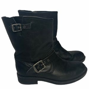 """Frye """"Engineer Pull On"""" Black Leather Boots 6"""